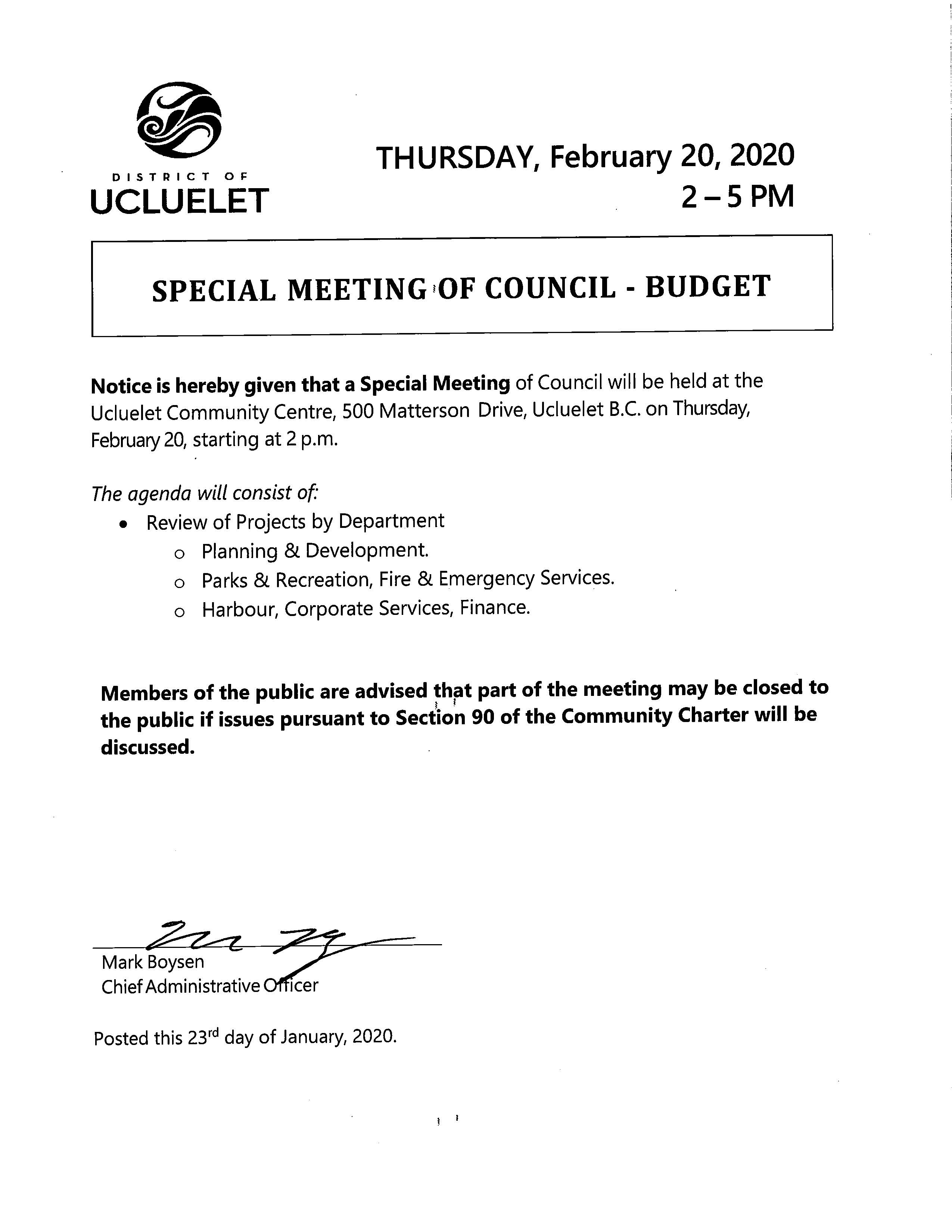 2020 02 20 Special Budget Meeting Notice signed