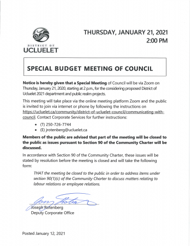 2021 01 21 Special Budget Meeting Notice