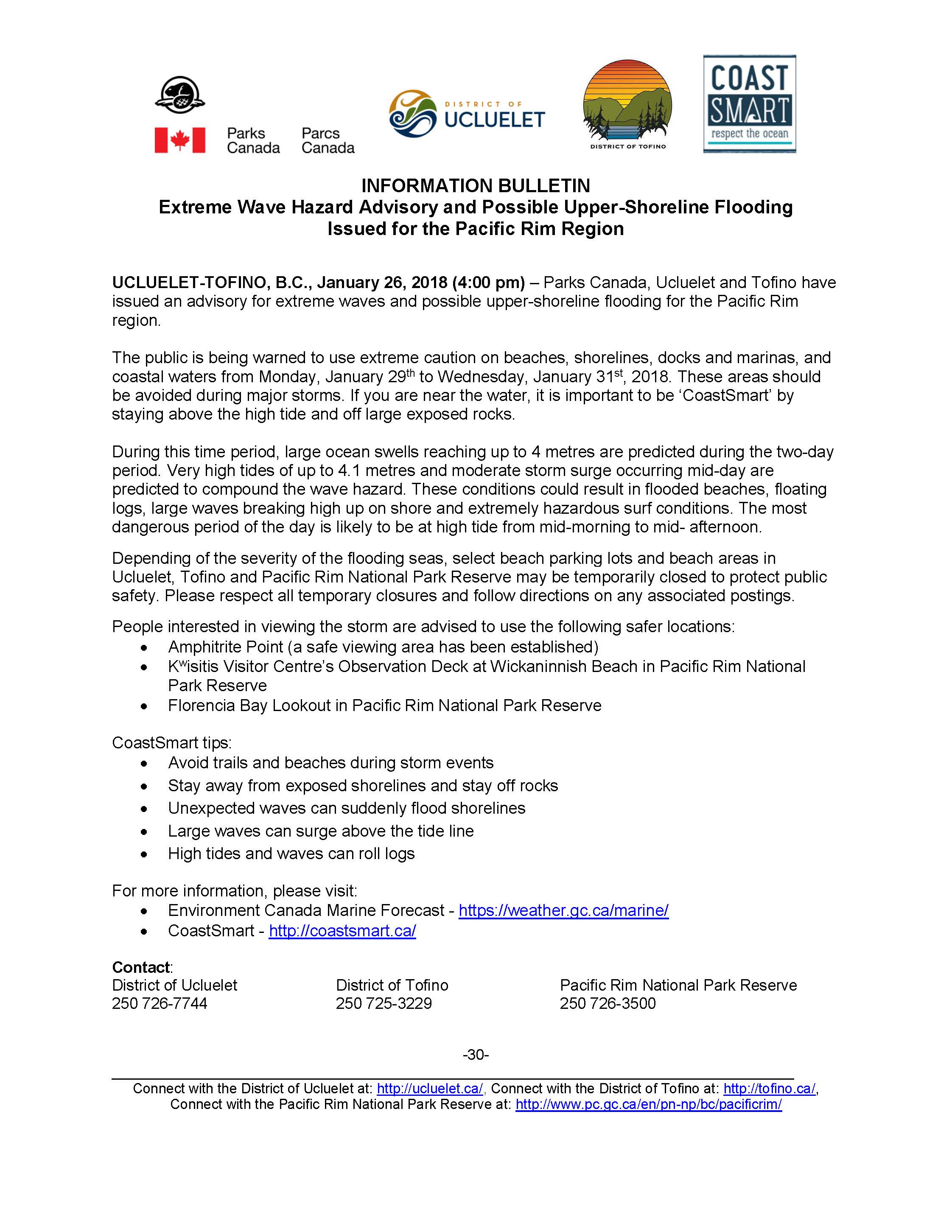 Extreme Wave Possible Flooding Info Release 1 Jan 26 2018 Ucluelet Tofino PRNPR