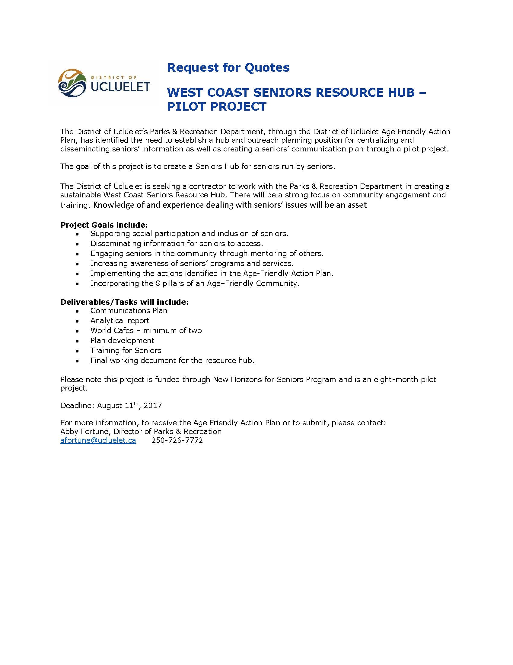 Request for Quotes Seniors Resource Hub